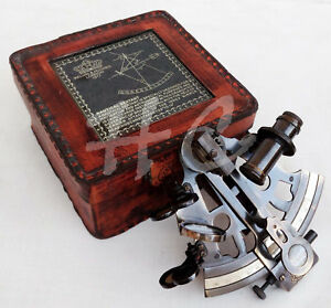 Antique Brass Collectible Style Sextant With Leather Box Vintage Maritime Gift