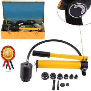 15 Ton Hydraulic Metal Steel Plate Hole Punch Set Hand Pump With 10 Dies Tool Us