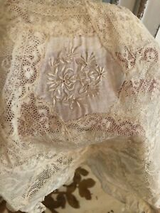 Antique French Tambour Net Lace Boudoir Pillow Cover Embroidery Cut Work 2