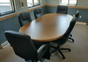 Used 8 Racetrack Office Conference Table And Six Office Chairs Great Condition