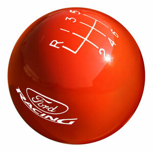 Shift Knob 2 1 8 Solid Orange With Shift Pattern 6 Speed And Ford Racing Logo F