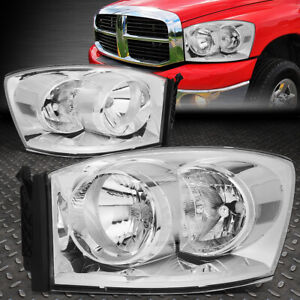 For 06 09 Dodge Ram 1500 2500 3500 Chrome Housing Clear Corner Headlight Lamps