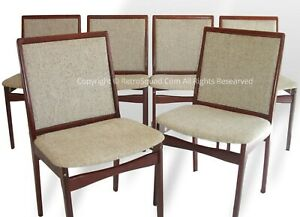 6 Danish Modern Rosewood Dining Chairs Oatmeal Wool Fabric Mcm Eames