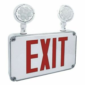 Fulham Firehorse Exit Lighting Fhec34r Exit Sign W emergency Lights red Letter
