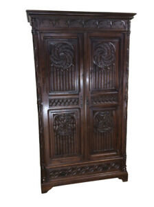 Terrific Antique French Gothic Cabinet Double Door 19th Century Oak