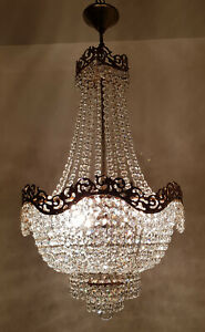 Antique Vintage Brass Crystals French Large Chandelier Lighting Ceiling Lamp