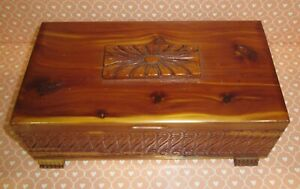 Vintage Ornate Carved Cedar Footed Trinket Box Chest Applied Wood Etched Mirror