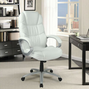 White High Back Leather Executive Office Desk Task Computer Chair Metal Base