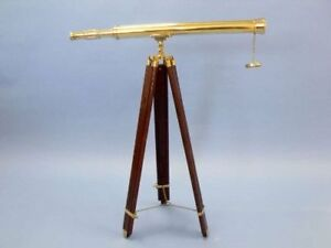Full Size Brass Telescope On A Wooden Tripod Stand 39 Tube Length