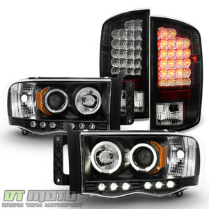2002 2005 Dodge Ram Led Halo Projector Headlights Led Tail Lights Lamps L R Set