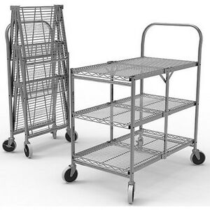 Luxor Wscc 3 Three shelf Collapsible Wire Utility Cart New