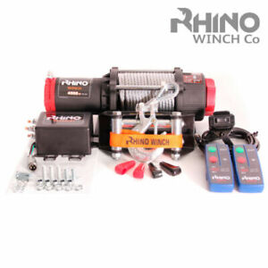 Electric Recovery Winch 12v 4500lb Steel Cable Heavy Duty Boat 4x4 Rhino