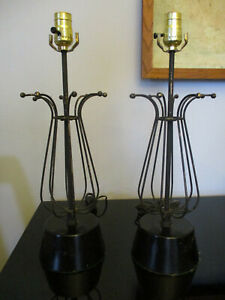 Pair Vintage Mid Century Modern Modernist Space Age Atomic Retro Iron Table Lamp