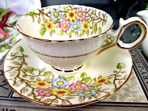 Delphine Tea Cup And Saucer Floral Painted Pattern Teacup Footed Design