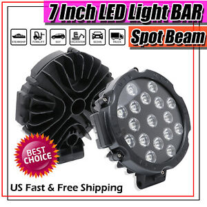 2x Round 7inch 255w Led Lights For Jeep Truck 4wd Atv Suv Bull Bar Pods Off Road