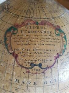 1728 First Edition Extremely Rare Doppelmayer Terrestrial Globe