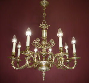 Fine Silver Empire Chandelier Brass Old Vintage Ceiling Lightings 8 L Lustre