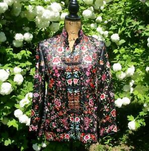 Vintage Chinese Embroidered Rayon And Silk Flowers Black Short Jacket Robe M