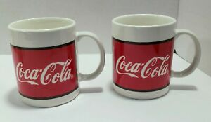 Lot of 2 Coca Cola 12 oz Coffee Mugs by Gibson 1997 Red FREE SHIPPING