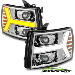 Fit 2007 2013 Chevy Silverado Chrome Projector Headlights W Led Drl Signal Light