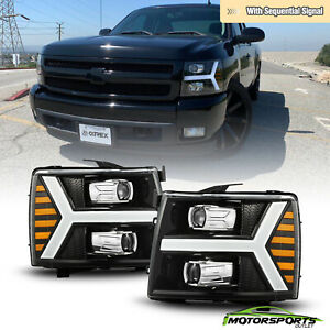 sequential Led Fit 07 13 Chevy Silverado Projector Polished Black Headlights