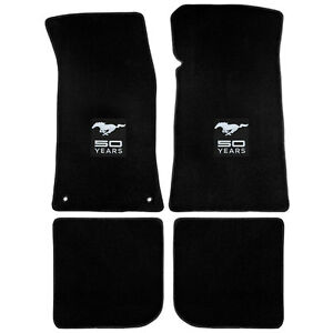 12641 Mustang Lloyd Mats Plush Floor Mat Carpeted Black With Silver 50th Anniver