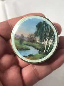 Antique Style London Enamel Guilloche Solid Silver Snuff Pill Compact Box Mirror