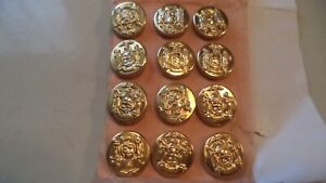 12 Vintage Metal Buttons By Superior Quality Ny State Emblem New Old Stock Gold