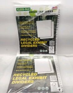 Lot Of 10 Kleer Fax Green Tab Series Recycled Legal Exhibit Dividers