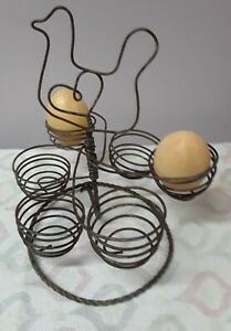 Vintage Wire Egg Holder Basket Carrier Holds 6 Eggs