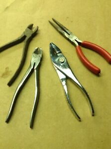 Snap On Pliers Lot Of 4 47 Slip Joint 97ccp Needle Nose 87