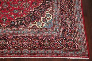 Vintage Traditional Floral Red Persian Area Rug Oriental Hand Knotted Wool 10x13