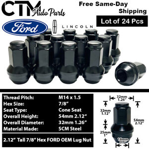 24 Black Ford Oem Factory Style 14x1 5 Lug Nuts Fit F150 Expedition 2015 2019