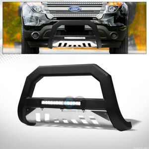 Fits 11 18 Ford Explorer Matte Blk Ss Skid Avt Aluminum Led Light Bull Bar Guard