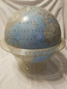 Vintage 1968 Copyright National Geographic World Globe W Plastic Stan