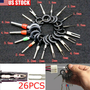 26pcs Car Wire Terminal Removal Tool Wiring Connector Pin Extractor Puller Tools