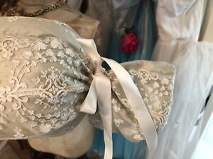 Stunning Antique French Lace Tambour Lace Boudoir Roll Pillow