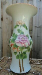 Polychrome Vase Chinese Porcelain Old 13 3 4 X 6 Inches Vintage Flower Export