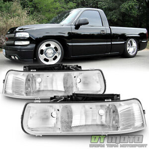 1999 2002 Chevy Silverado 00 06 Tahoe Suburban Headlights Headlamps Left right