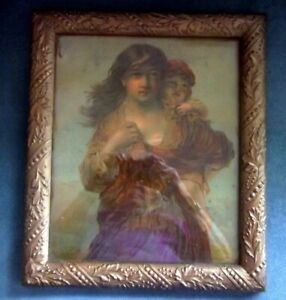 Antique Gold Gesso Picture Frame Victorian Lady Child Print