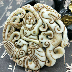 Chinese Pure Hand Carved Curio Old Jade Belle Dragon Phoenix Brand Pendant Aaa
