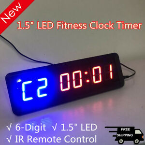 6 digit Dimmable Programmable Interval Timer Wall Crossfit Gym Timer W Remote