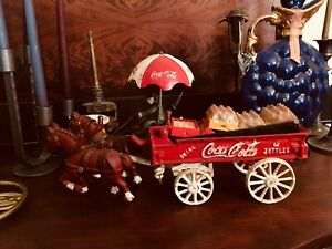 Coca Cola Horse Drawn Wagon With Umbrella And Crates With Bottles