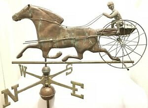 Antique Copper Sulky Jockey Horse Carriage Buggy Weathervane W Directionals
