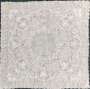Vtg Antique Madeira Embroidered Needle Lace Bridal Heirloom Handkerchief A01