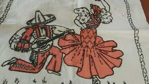 Antique Early 1900s Hand Painted Embroidered Fiesta Pillow Cover Pillowcase