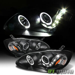 For 2003 2008 Toyota Corolla Black Led Halo Projector Headlights 03 08 Headlamps