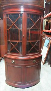 Drexel Bowfront Curved Glass Mahogany China Corner Cabinet