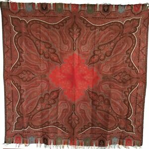 Antique Fine Wool Paisley Shawl Scottish Superb Condition