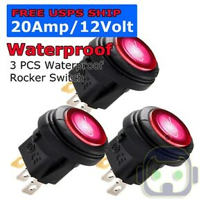20pcs Rocker Switch Toggle 12v Led Light Car Auto Boat Round On Off Spst 20 Amp